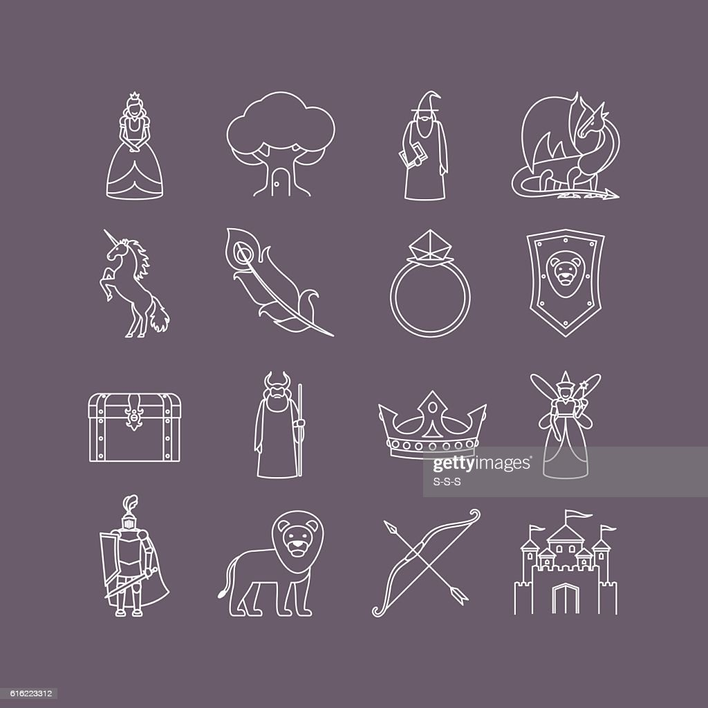 Fairy tale thin line icon set : Vector Art