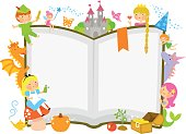 characters of fairytales around an open book