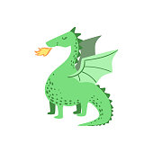 Fairytale Dragon  Flat Isolated Childish Style Simple Vector Drawing In Bright Colors On White Background