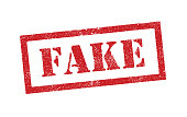 Vector illustration of the word Fake in red ink stamp