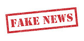 Vector Illustration of the word Fake News in red ink stamp