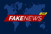 Fake news live illustration vector on blue dotted world map