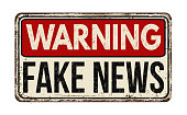 Fake news vintage rusty metal sign on a white background, vector illustration