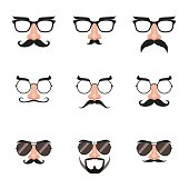 Illustration of eyeglasses with fake nose, mustache and eyebrows.