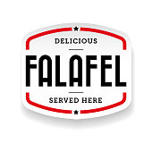 Falafel arabic cuisine label vector