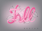 Fall design  banner with  falling leaves and volume pink letters. Vector illustration