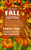 Fall festival poster with autumn harvest frame on wood background. Pumpkin vegetable and wheat, framed with fall maple leaf, orange foliage of forest tree and rowanberry branch for invitation design