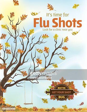 fall flu or influenza shot poster template vector art getty images. Black Bedroom Furniture Sets. Home Design Ideas