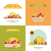 Set of colorful vector illustrations or icons for fall/autumn harvest market festival in modern flat design. Easy to edit, elements are grouped and in separate layers.