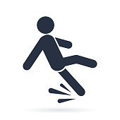 Fall hazard vector pictogram illustration isolated on white background. Wet Floor Caution Sign. Falling man in modern flat style.