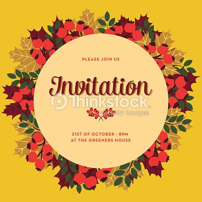 Fall invitation card with beige circle banner vector art thinkstock fall invitation card with beige circle banner vector art stopboris Images