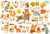 FAll theme set, forest Animals hand drawn style. Vegetables, trees, leaves, food for harvest festival or Thanksgiving day. Cute autumn charactrs - bear, fox, raccoon, squirel. Vector illustration.