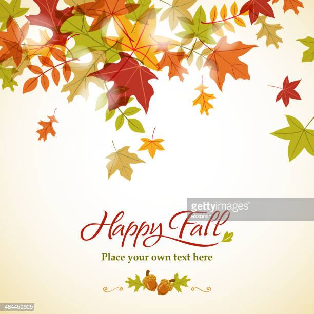 A fall themed background with colored leaves on top