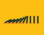 Vector illustration of falling black dominoes on yellow background