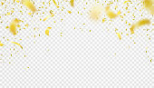 Falling confetti isolated border background. Shiny gold flying tinsel for party, anniversary, birthday, carnival decoration design. Blurred element. Vector illustration on transparent backdrop