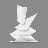 Falling document blank white paper pages on transparent background. Vector illustration