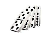 White dominoes falling, vector illustration, isolated white background