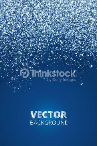 Falling glitter confetti, snow. Vector dust, explosion on blue background. Sparkling glitter border, frame. : stock vector