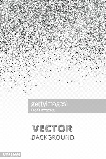 Falling glitter confetti. Vector silver dust isolated on transparent background. Sparkling glitter border, festive frame. : stock vector