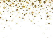 golden falling stars  on a white background