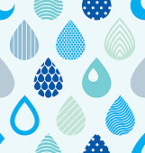 Falling rain drops water vector seamless pattern, blue colored repeat endless background, dew water dripping.