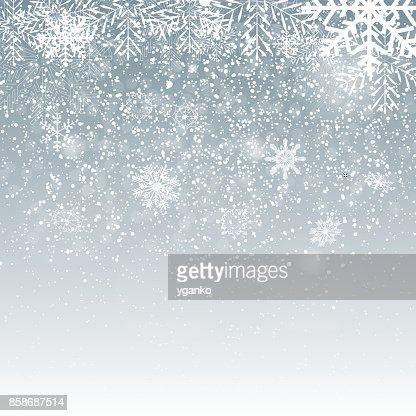 Fallenden leuchtendes Schneeflocken und Schnee auf blauem Hintergrund. Winter, Weihnachten und Neujahr Hintergrund. Realistische Vektor-Illustration für Your Design : Vektorgrafik