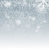 Falling Shining Snowflakes and Snow on Blue Background. Christmas, Winter and New Year Background. Realistic Vector illustration for Your Design EPS10