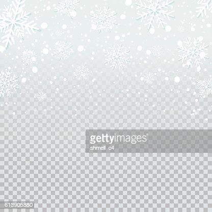 Falling snow backdrop on transparent background. : Vector Art
