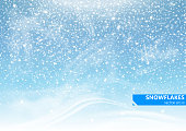 Falling snow on a blue background. Snowstorm and snowflakes. Background for winter holidays. Vector Illustration