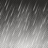 Rain vector background. Falling water drops on transparent