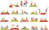 Families On Picnic Outdoors Bright Color Cartoon Simple Style Flat Vector Set Of Stickers Isolated On White Background