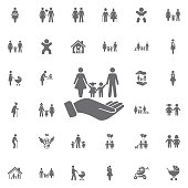 family and hands vector icon on white background. life insurance sign. Set of family icons