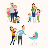 Family and kids. Cartoon vector eps 10 illustration isolated on white background in a flat style.
