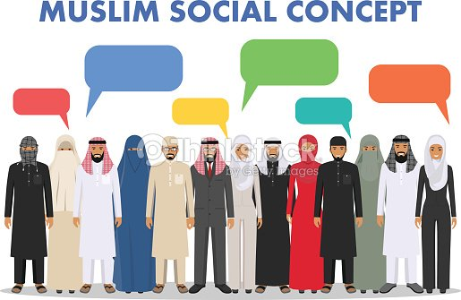 Family and social concept. Group young muslim people standing together and speech bubble in different traditional islamic clothes on white background in flat style. Arab man and woman. Vector illustration.
