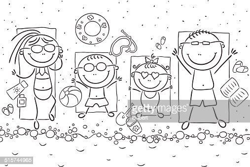 Libro Para Colorear Madre Hija Ilustraciones Vectoriales Clip: Family At The Seaside Vector Art