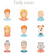 Cartoon icons collection of family members avatars