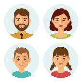 Set of happy family round avatars, flat design style. Vector illustration.