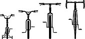 Isolated vector illustration of varied bike designs and size