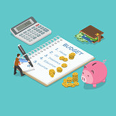 Family budget flat isometric vector concept. Man is planning the family budget and write down it into the notepad. There is some amount of money near of the each of the budget item.