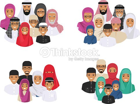 Family concept. Arab people generations at different ages. Muslim father, mother, grandmother, grandfather, son and daughter in traditional islamic clothes. Different man characters avatars icons set.