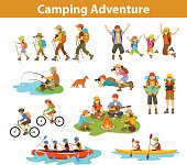 Family, couple, children camping, rafting, hiking, sitting at campfire, make photos of animals, kayaking, mountain biking, planning trip looking at map and tablet, jumping, fishing. People tourist tra