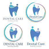 Abstract Vector illustration of teeth. Dental logo. Family dental clinic. Family dental logo icon vector