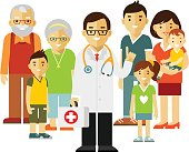 Doctor standing together with father, mother, children and grandparents in flat style isolated on white background