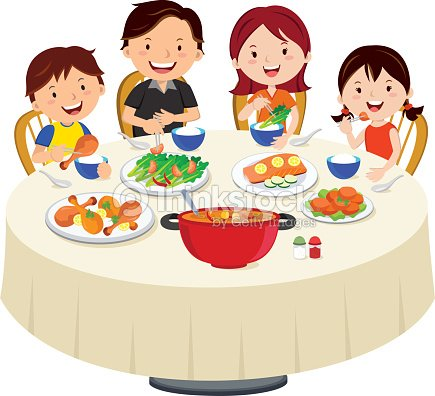 Family eating dinner family dinner isolated vector art for Repas avec amis
