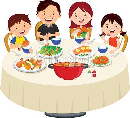 Famille manger le d ner d ner en famille isol clipart for Repas entre amoureux maison