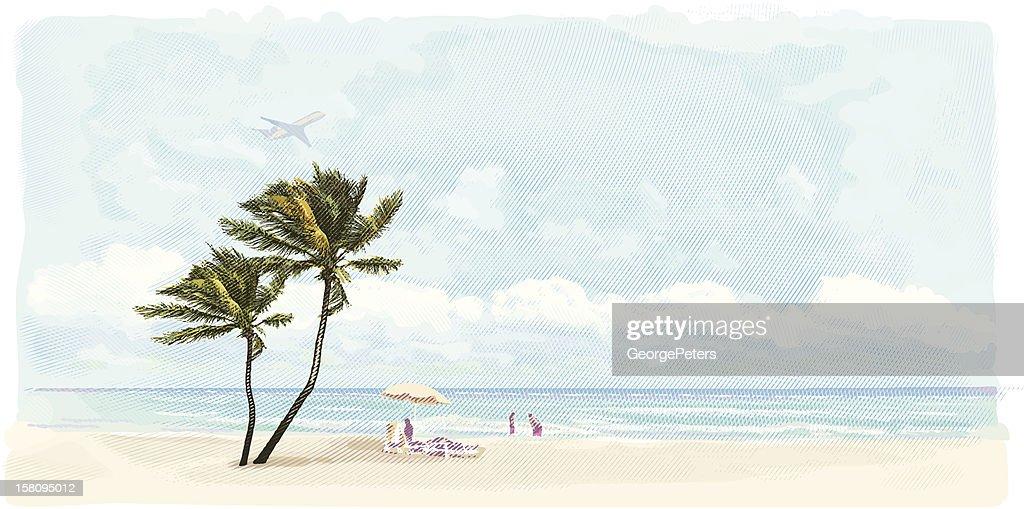 Family Enjoying Beach Vacation : Vector Art
