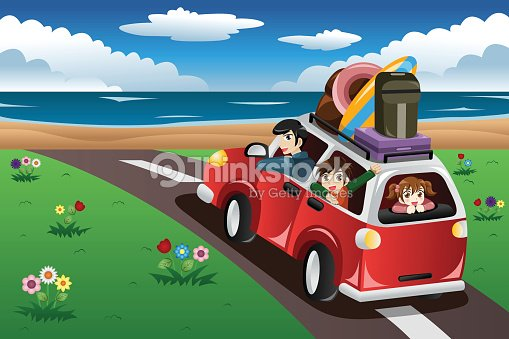 Family Going On A Beach Vacation Vector Art