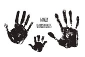 Family handprints vector illustration. Watercolor family handprints of mom, dad, and child. Social illustration.