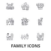 Family, happieness, home, fun, couple, family tree, family portrait, vacation line icons. Editable strokes. Flat design vector illustration symbol concept. Linear signs isolated on white background