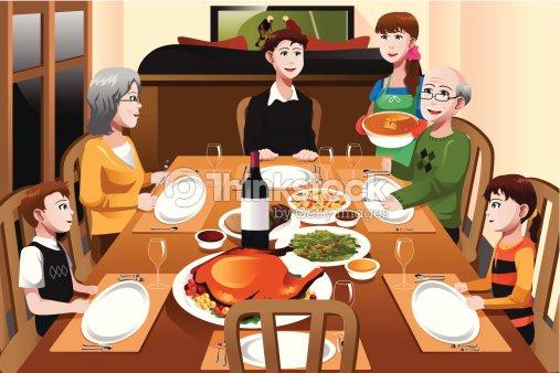 Familien die ein thanksgivingabendessen vektorgrafik for Salle a manger dessin anime